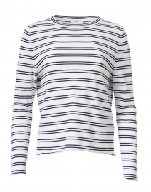 Navy and White Double Stripe Cotton and Silk Top
