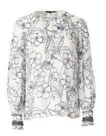 Kendrick White and Black Floral Print Silk Blouse