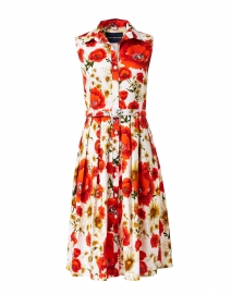 Audrey Orange Poppy Printed Stretch Cotton Dress