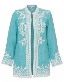 Ceci Turquoise Embroidered Linen Coat