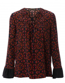 Zoey Black and Orange Valencia Printed Silk Blouse