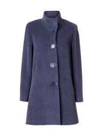 Blue Wool High Collar Coat