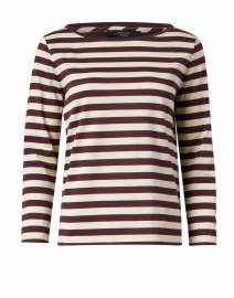 Ritmo Plum and Beige Striped Cotton Tee