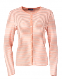 Pistoia White and Coral Striped Cotton Cardigan