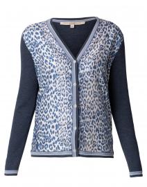 Blue Leopard Cashmere and Silk Cardigan