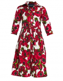 Audrey Pink and White Anemone Floral Stretch Cotton Dress