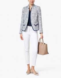 Helene Berman - Navy and White Tweed Notched Jacket