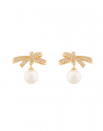 Pave Bow Pearl Gold Earrings