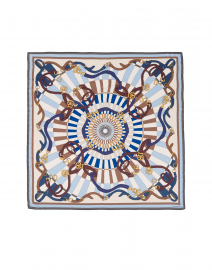 Rani Arabella - Blue and Beige Saddle Printed Silk Cashmere Scarf
