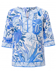 Blue Hummingbird Printed Cotton Tunic