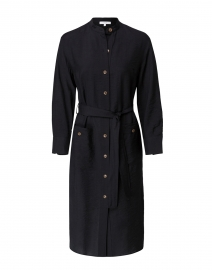 Black Viscose Twill Shirt Dress