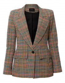 Multi Glen Plaid Cotton Blazer