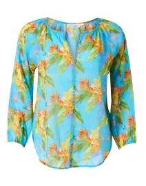 Lucy Blue Tropical Print Cotton Voile Top