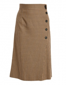 Millicent Beige and Brown Check Print Buttoned Skirt