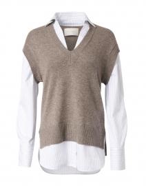 Nye Grey Melange Knit Vest Looker Sweater
