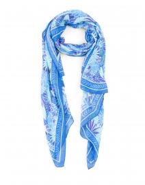 Blue Palm Print Cashmere Blend Scarf