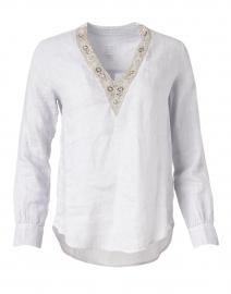 Silver Linen Embellished Shirt