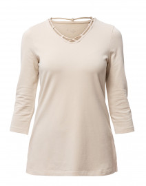 Sand V-Neck Cut Out Detail Stretch Cotton Tunic
