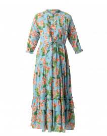 Brenda Blue and Orange Floral Cotton Dress