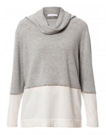 Grey and White Wool Silk Cashmere Top