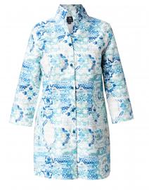 Rita Blue Pastice Printed Linen Jacket