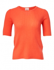 Coral Ribbed Cashmere Sweater