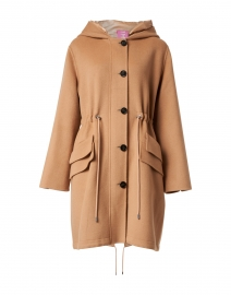Camel Zip Hooded Long Coat