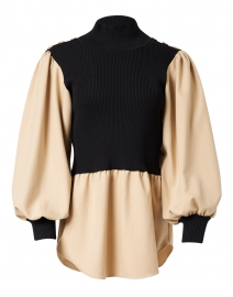 Beige and Black Knit Overlay Top