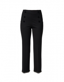 Lidia Black Front Button Pant With Pearl Trim