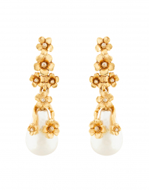 Pearl and Gold Flower Drop Earring