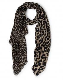 Scrigni Beige Leopard Print Wool Scarf