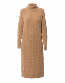 Magda Camel Wool and Cashmere Cable Knit Dress