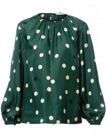Green Painted Polka Dot Silk Blouse