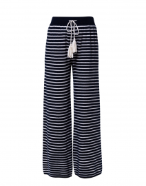 Navy and White Striped Cashmere Pant