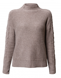 Beige Mixed Rib Cashmere Sweater