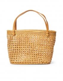 Maya Natural Rattan and Leather Top Handle Bag