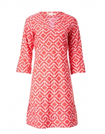 Megan Red and White Sail Geo Print Dress