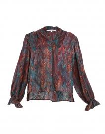 Marcel Red, Orange and Teal Brushstroke Print Silk Blouse