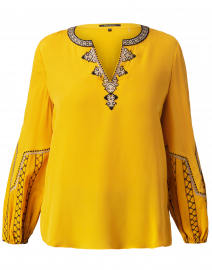 Yasmina Orange Embroidered Silk Blouse