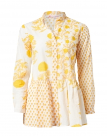 Chanderi Yellow Floral Cotton Top