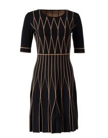 Black and Camel Double Merino Geometric Dress