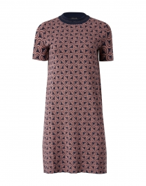 Agenzia Pink and Navy Print Knit Dress