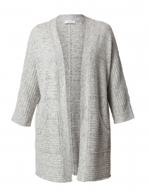 Grey Ribbed Cotton Cardigan