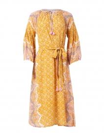 Lena Tangerine Paisley Print Silk Crepe Dress