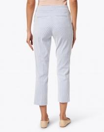Ecru - Madison Blue and White Stripe Stretch Cotton Crop Pant