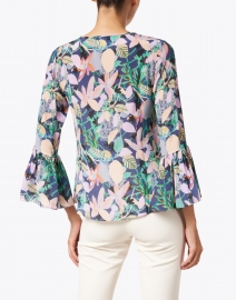 Soler - Pia Navy and Soft Pink Floral Print Silk Crepe Top