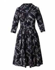 Audrey Indigo Palm Print Stretch Cotton Dress
