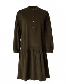 Dudy Khaki Green Stretch Cotton Corduroy Dress