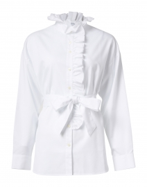 Michaela White Ruffled Oversize Cotton Tunic