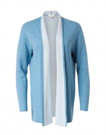 Seine Blue and Haze Blue Reversible Cotton Cashmere Cardigan